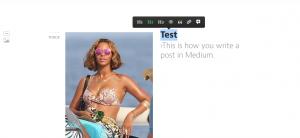 Example of photo upload in Medium.
