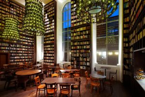 The Wine Library at the Boutique Hotel & Spa in Zurich, where 33,000 books line the shelves.