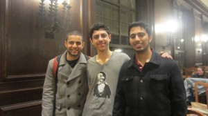 Abderhman Abushem with his friends during weekly dinner.
