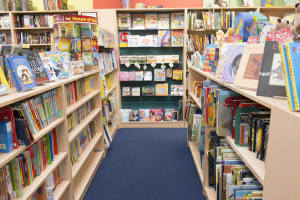 A portion of the children's section at Porter Square Books.