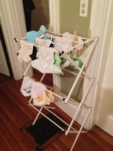 Cloth diapers hang to dry in the home of Christina Van Becelaere, who delivered her son naturally and is continuing with natural trends in childrearing.