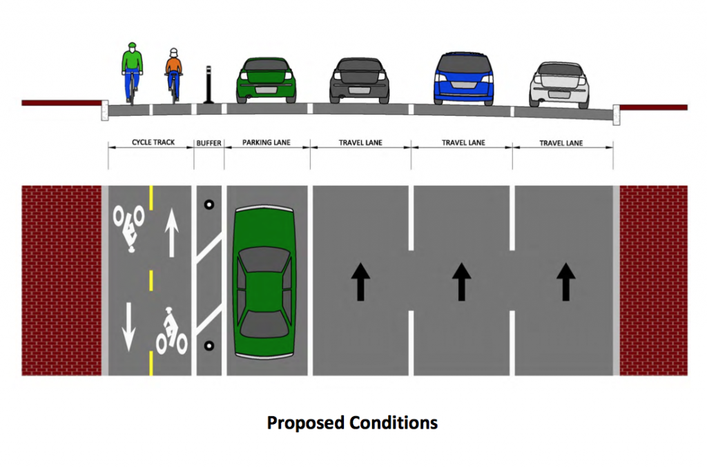 Boston bikes proposed a design to build protected bike lanes for both-direction bikers on the street. Photo credit: Boston Bikes
