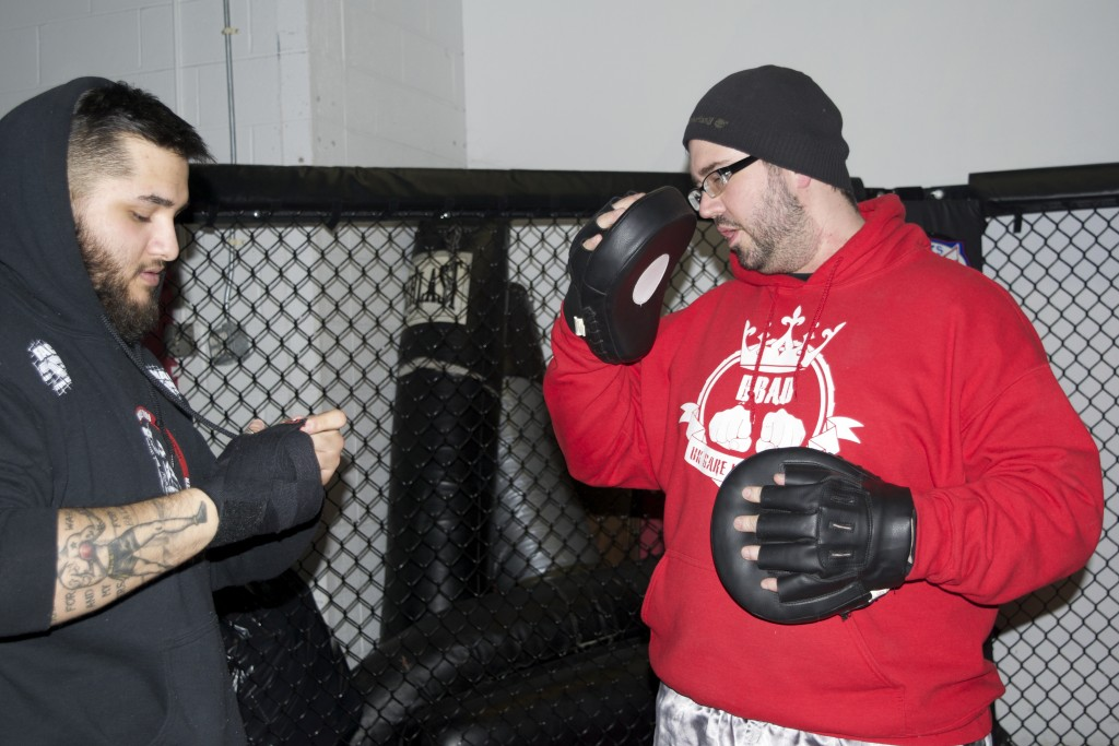 LJ Scarcella (left) and David Sullivan (right) get ready to spar at the Brazilian Martial Arts Center
