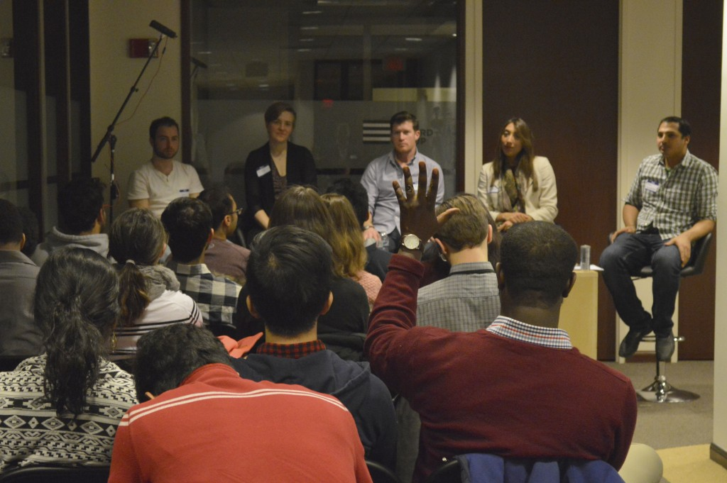 Startup founders are sharing their experiences to students at the first meetup of BUI. Credit: Zimo Zhou