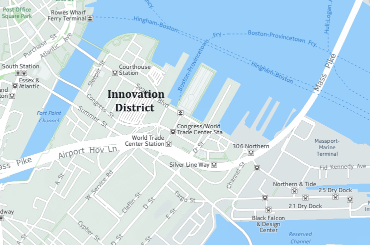 Boston's Innovation District is located in Waterfront.