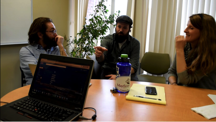 Jake Kantrowitz, Ania Tassinari and a lab member is meeting for their school project.