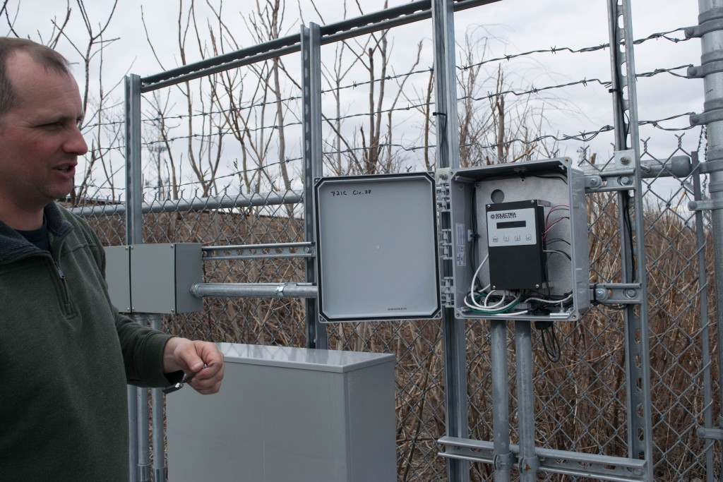 Michael Naughton at the weather station for the solar panels at IBEW 103
