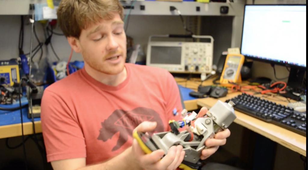 MIT Biochatronics engineer Jean-François Duval showing the original model of Biom ankle
