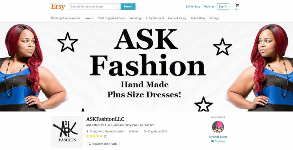 Photo taken of the ASK Fashion Etsy shop, created and managed by Amanda Koker. Photo by Alexandra Prim.