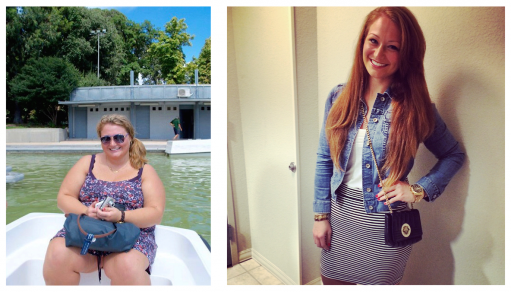 A snapshot of Aubrey Podell in 2011 before her bariatric surgery, and a second photo of Podell a year after surgery, in 2014. Photos courtesy of Aubrey Podell.