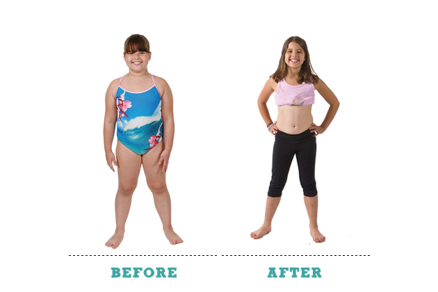 """Before"" and ""after"" photos of one young camper who purportedly lost weight at Camp Shane. Image courtesy of the Camp Shane website."